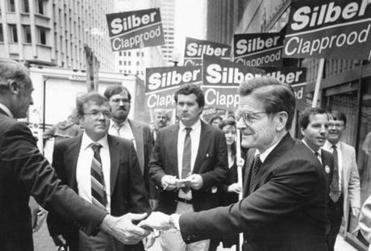 As a gubernatorial candidate in 1990, John Silber greeted passersby in Boston.